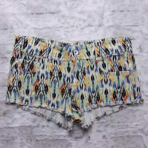 Dollhouse| Aztec Multi Color Cut Off Jean Shorts